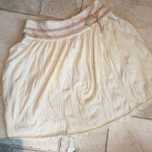 Free people cream and lace boho full skirt. Sz 12